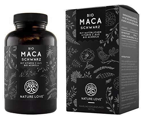NATURE LOVE Bio Maca Kapseln - 3000mg Bio Maca schwarz je Tagesdosis. 180 Kapseln. Mit natürlichem Vitamin C. Ohne Zusätze wie Magnesiumstearat. Zertifiziert Bio, hochdosiert, vegan, Made in Germany