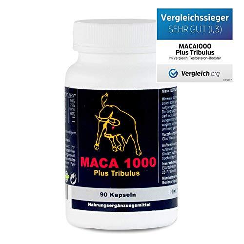 Maca 1000 plus Tribulus, Maca und Tribulus ideal kombiniert in einem Produkt, 90 Kapseln in Premiumqualitt, Hochdosiert, 1er Pack (1x 74g)