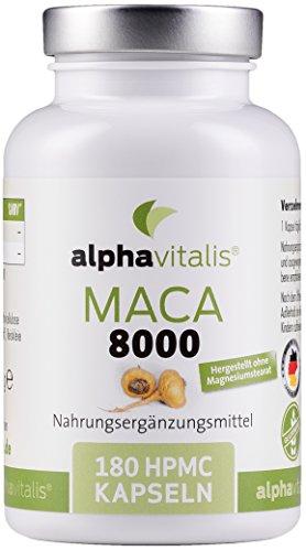 Unsere Empfehlung: Maca Gold 8000 – 180 Maca Kapseln 20:1 Extrakt - hochdosiert und in Premiumqualität.