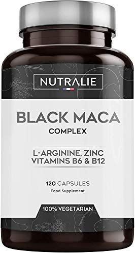 Maca Schwarz aus Peru entspricht 24.000 mg fr jede Dosis von 1200 mg, mit L-Arginin, Zink und den Vitaminen B6 & B12 | 120 Pflanzliche Kapseln mit hochkonzentriertem Maca-Extrakt 20:1 | Nutralie