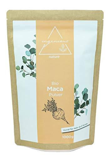 ingenious nature Laborgeprftes Bio Maca Pulver 1000g - von der schwarzen Maca Wurzel - 100% rein, ohne Zustze, roh, aus Peru. Angebaut auf ber 4400m.